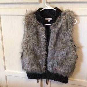 LOFT Ann Taylor Faux Fur Vest Gray Sz XS/S Petite